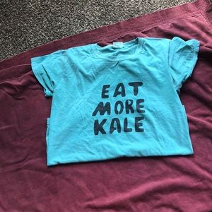 Tops - Eat more kale tee teal green